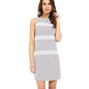 LONDON TIMES Blue White Striped Seersucker Dress